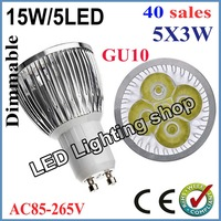FREE SHIPPING 40pcs/lot Dimmable GU10 E27 MR16 15W 85-265V High power LED Bulb Spotlight Downlight Lamp LED Lighting