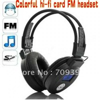 Hifi sound headphone with screen ,+FM Radio,support SD/MMC Card,  mp3, +usb cable+carton box,20pcs/lot,fast shipping