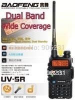 Free Shipping!! 2 pcs/lot Brand BF UV-5R 5W Wide Coverage Dual Band VHF/UHF Interphone Walkie Talkie