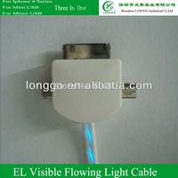 EL Visible Flahsing Light ,Micro USB,Mini USBCable for Nokia,Motorala,LG etc. , black cable with purple light
