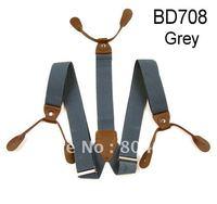 Adult Braces Unisex Suspender Adjustable Leather Fitting Six Button Holes Grey  BD708