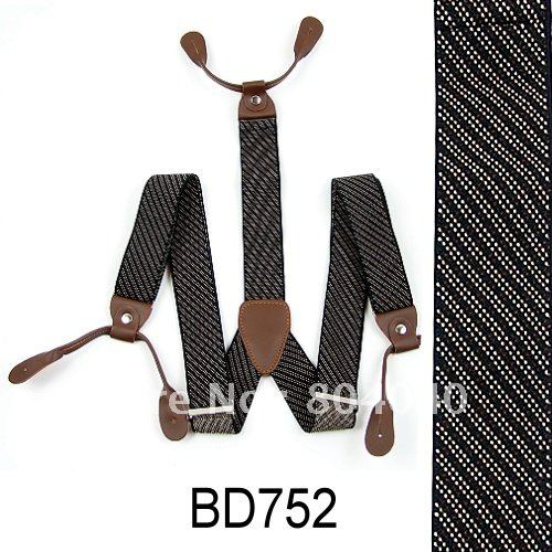 Adult Braces Unisex Suspender Adjustable Leather Fitting Six Button Holes White Stripe BD752(China (Mainland))