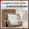 Premium Magnetic Leopard PU Leather Fold Cover Smart Case Stand Holder For the New iPad 3/ 2, Brown Leopard Style, Free Shipping