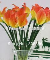 ORANGE 48p 35cm PVC Artificial Flower Calla Lily Lilies for Wedding Bridal Bouquet Center Pieces Party Home Decorative Flowers