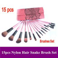 Free shipping! Pro 15pcs pink natural animal goat hair Makeup Brushes Kit set with Red snake leatehr case bag Dropshipping!