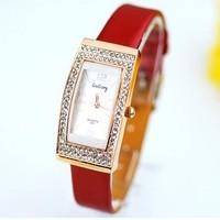 Wholesale women wristwatches ladies fashion leather strap quartz watch rhinestone Women dress watches EW393