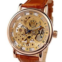 New Fashion & Luxury Style Gold Skeleton Dial Hand Wind Men's Mechanical Wrist Watch Waterproof Brown Leather Gift