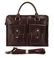 2014 new 100% Genuine Crazy Horse Leather Men's Dark Brown Briefcase Laptop Bag Handbag Messenger #7096R 2012 Hot Selling