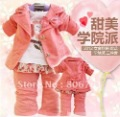 fashional design western styles red 3pcs baby girls clothes suits cotton fabric 4sets/lot wholesale freeshipping