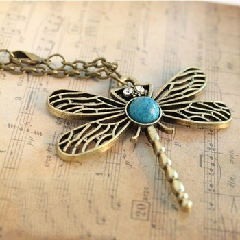 Min.order is $5 (mix order)Free Shipping Hollow Dragonfly Chain Vintage Sweater Necklace (ON0060)
