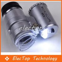 Free shipping Mini 45X 2 LED Pocket Microscope Magnifier Loupe 60pcs/lot Wholesale