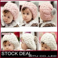 MOQ 1PCS  free shipping Baby item Lovely cream beret baby fashion wool hat B052p