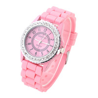 2013 GENEVA Casual Watch Crystal Dial Silicone Watches Analog wristwatches Jelly for women dress watch Unisex