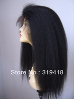 Beauty! Jet Black Kinky Straight 100% Indian Remy Human Hair Lace Wig Front Lace Wig Baby Hair Wholesale Best