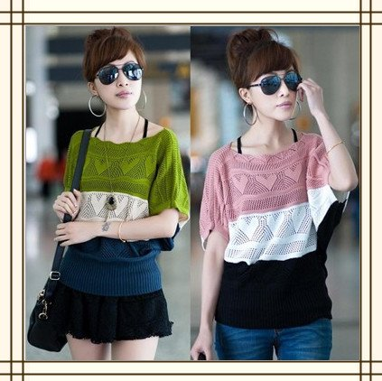 2012 spring and summer women's new T-shirt, short sleeve, hollow, bats loose yards smock sweater(China (Mainland))