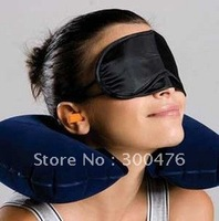 Free Shipping New 3 In 1 Travel Suit Sleeping Inflatable Neck Air Pillow Eye Mask Patch Blindfold Shade Cover Ear Plug Kit