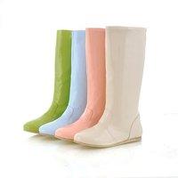 Patent Boots Wholesale 2014 Women Rain Boots Light Flat Waterproof Boots Botas Femininas 2014 Rainboots