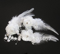50pcs/lot 5 Colors Feather Wedding Hair Flowers with clip Very Nice