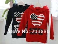 4pcs/lot girls boys mickey sweatshirts hoody childrens long sleeve navyblue USA flag hoodies top clothes tops clothes