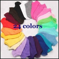 Free shipping 2014 Summer hot sale women cute cotton socks slippers boat socks 19 candy colors  1 lot =12pairs =24pcs