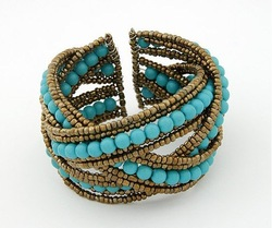 [Mix 15USD] Ladies Fashion Bohemian style Braid Blue Beads Wide Cuff Open Bracelet Bangle(China (Mainland))