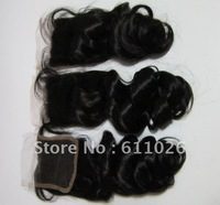 """Stock! human hair piece,14"""",4x4,100% virgin indian human Hair,bouncy wave lace closure bleached knots free shipping"""