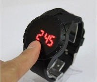 50pcs/lot Fashion led watch Metal case red led flashing watch Touchscreen display watch T013 free shipping