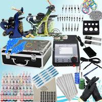 Freeshipping USA warehouse Complete Tattoo Kit Sets 40 Inks 2 Machines Guns Grips Needles Tips Power Set Equipment Supplies
