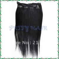 16inch 3sets/Lot ,Clip in Straight Brazilian Remy Human Hair Extensions, Color#1,7183