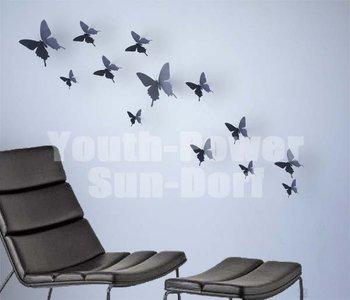 12pcs 3d wall sticker butterfly home decor art decorations for Decoration murale papillon 3d noir
