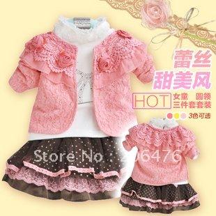 Комплект одежды для девочек KIDS CLOTHES, 3PCS FASHION CHILDREN CLOTHING SET, LACE COAT/COTTON T-SHIRT/SKIRTS, GIRLS DRESS SET