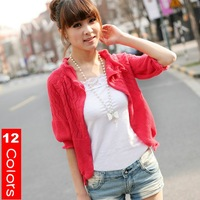 2012 autumn girls' sweater solid cutout half-sleeve cardigan shrug pink/black/green12 colors in stock free size -Free shipping