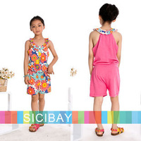 Girls Suits Cheap Girls Jumpsuits Summer Beach Clothing Fashion Rompers for Children Wear, Free Shipping K0382
