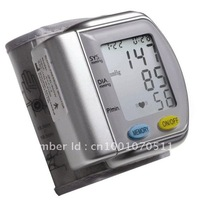 Free shipping wholesale Wrist fully Automatic Blood pressure monitor LCD display,automatic power-off function 5pcs/lot