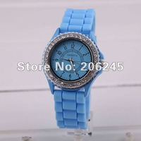 retail Quartz Watch Colored Jelly Wristwatch Lady Silicone Watches With Diamond Face Fashion Quartz Watch
