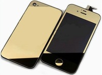 Plating Assembly Replacement LCD Touch Screen Digitizer+Repair Back Cover HOUSING Gold for iPhone 4G CDMA