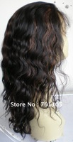 "Free shipping!  16"" higlight wave 1BD30 brazilian human hair full lace wig"