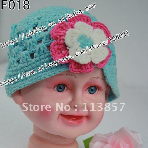 Free shipping (100/lot) 100% cotton crochet hat patterns for girls funky beanie hat crochet flower hats baby hat(China (Mainland))