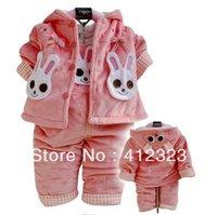 free shipping baby girls rabbit Velvet clothing sets suits girl children autumn coat+jumpsuit pant set suit clothes