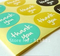 Thank You Stickers, ROUND Stickers Turquoise, Yellow, Brown Thanks You Labels 25sheets/lot 600pcs