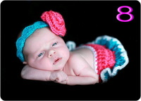 free shipping,baby Fancy handmade Diaper Cover and crochet Headband Set 100% cotton Crochet Baby handmade Suit