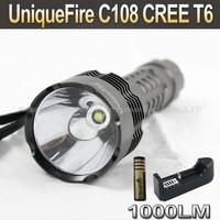5SET/LOT UniqueFire C108 CREE T6 1000LM 5-Mode LED Flashlight Torch+ 4000mah 3.7V 18650 Battery+AC Charger