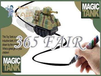 2 pcs /lot pen toy car electric Magic Inductive Fangle mini Tank children toys run following the line you draw