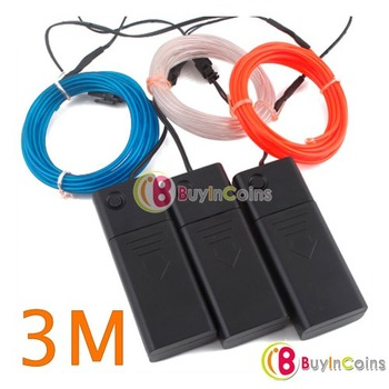 New 3M Flexible Neon Light Glow EL Wire Strip Battery Case # 4626
