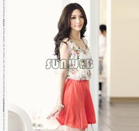 2013 wholesale Women's Flower Floral Pattern Sleeveless Chiffon Comfort Summer Mini Dress without belt 4979