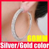(38% off on wholesale) 2 Colors 60mm Crystal Hoop Earrings Double Rows Basketball Wives Large Hoop Earrings F1