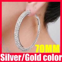 (35% off on wholesale) 2 Colors Crystal CZ Hoop Earrings 70mm Big Rhinestone Hoop Earrings F1