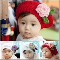 10pcs/lot,2012 new Korean children wool cap, a flower handmade beret, children's knitted hats, multicolor, free shipping