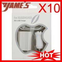 ( 10 pcs/lot  ) White 3 in 1 AC Wall Charger + Mini Car Charger + Data USB Cable For iPhone 4S iPod Touch 4
