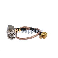 pigtail RG179 cable connector BNC-male right angle to MCX-male